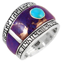 Sterling Silver Statement Ring Purple Turquoise R2391-C96
