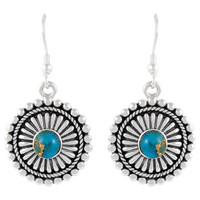 Sterling Silver Earrings Matrix Turquoise E1214-C84