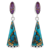 Sterling Silver Earrings Matrix & Purple Turquoise E1216-C96