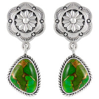 Sterling Silver Earrings Green Turquoise E1220-C76