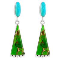 Sterling Silver Earrings Green & Blue Turquoise E1216-C97