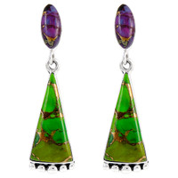 Sterling Silver Earrings Green & Purple Turquoise E1216-C98