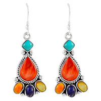 Sterling Silver Earrings Multi Gemstones E1215-C71