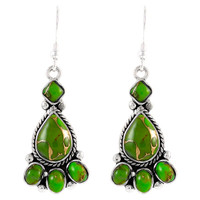 Sterling Silver Earrings Green Turquoise E1215-C76