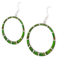 Sterling Silver Earrings Green Turquoise E1187-C06