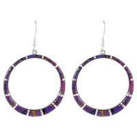 Sterling Silver Earrings Purple Turquoise E1187-C07