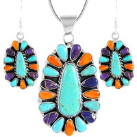Sterling Silver Pendant & Earrings Set Multi Gemstone PE4029-C72