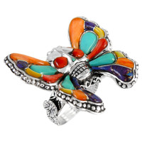 Sterling Silver Skull in Butterfly Ring Multi Gemstone R2396-C01