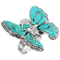 Sterling Silver Skull in Butterfly Ring Turquoise R2396-C05
