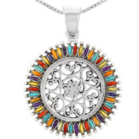 Sterling Silver Pendant Multi Gemstones P3085-C71