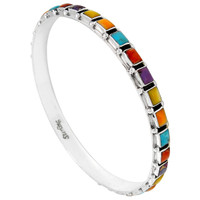 Sterling Silver Bangle Bracelet Multi Gemstone B5529A-C71