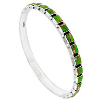 Sterling Silver Bangle Bracelet Green Turquoise B5529A-C76