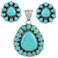Sterling Silver Pendant & Earrings Set Turquoise PE4024-SM-C75