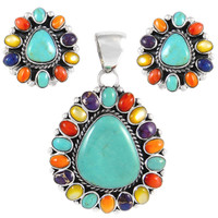 Sterling Silver Pendant & Earrings Set Multi Gemstone PE4024-SM-C71