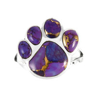 Sterling Silver Paw Ring Purple Turquoise R2405-C77