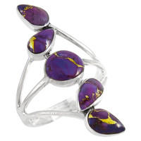 Sterling Silver Ring Purple Turquoise R2406-C77