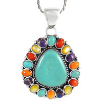 Sterling Silver Pendant Multi Gemstone P3137-C72