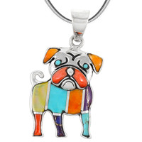 Sterling Silver Puppy Dog Pendant Multi Gemstones P3245-C01