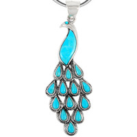 Sterling Silver Peacock Pendant Turquoise P3215-C75