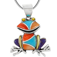 Sterling Silver Frog Pendant Multi Gemstone P3235-C01