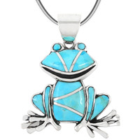 Sterling Silver Frog Pendant Turquoise P3235-C05