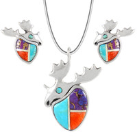 Sterling Silver Moose Pendant & Earrings Set Multi Gemstone PE4049-C01