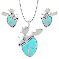 Sterling Silver Moose Pendant & Earrings Set Turquoise PE4049-C05
