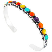 Sterling Silver Bracelet Multi Gemstone B5426-C71
