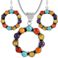 Sterling Silver Pendant & Earrings Set Multi Gemstone PE4053-C71