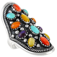 Sterling Silver Ring Multi Gemstone R2414-C71