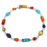 Sterling Silver Link Bracelet Multi Gemstone B5553-C71