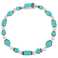 Sterling Silver Link Bracelet Turquoise B5553-C75