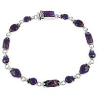 Sterling Silver Link Bracelet Purple Turquoise B5553-C77