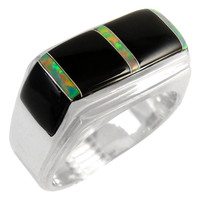 Sterling Silver Men's Ring Black & Opal R2417-C27