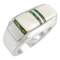 Sterling Silver Men's Ring White & Opal R2417-C13