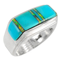 Sterling Silver Men's Ring Turquoise & Opal R2417-C21