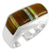 Sterling Silver Men's Ring Tiger's Eye Opal R2417-C29