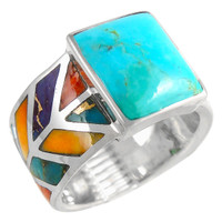 Sterling Silver Ring Multi Gemstone R2372-C01
