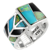 Sterling Silver Ring Turquoise Black Opal R2372-C39