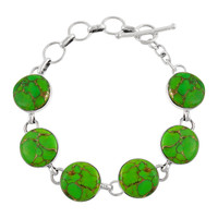 Sterling Silver Link Bracelet Green Turquoise B5490-C76