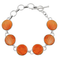 Sterling Silver Link Bracelet Orange Spiny Oyster Shell B5490-C79
