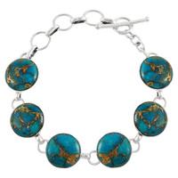 Sterling Silver Link Bracelet Matrix Turquoise B5490-C84