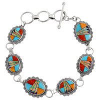 Sterling Silver Link Bracelet Multi Gemstone B5555-C00