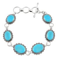 Sterling Silver Link Bracelet Turquoise B5555-C75