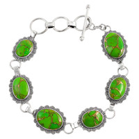Sterling Silver Link Bracelet Green Turquoise B5555-C76
