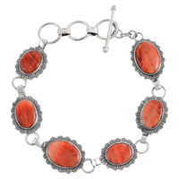 Sterling Silver Link Bracelet Spiny Oyster Shell B5555-C78