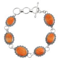 Sterling Silver Link Bracelet Orange Spiny Oyster Shell B5555-C79