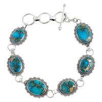 Sterling Silver Link Bracelet Matrix Turquoise B5555-C84