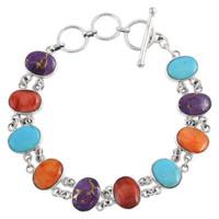Sterling Silver Link Bracelet Multi Gemstone B5556-C71