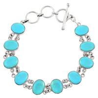 Sterling Silver Link Bracelet Turquoise B5556-C75